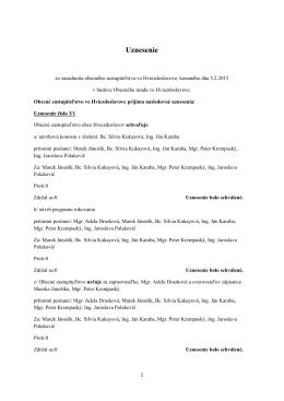 Uznesenie zo zasadnutia Obecného 05.02.2015