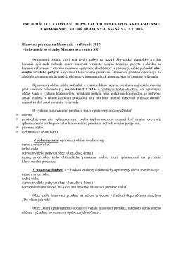 Informácia o vydávaní hlasovacích preukazov
