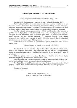 Príhovor gen. dozorcu ECAV na Slovensku