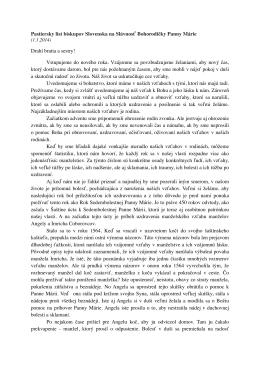 Pastiersky list biskupov Slovenska na Slávnosť