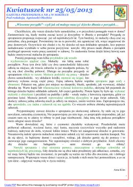 Kwiatuszek nr 25/05/2013