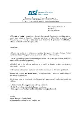 Amicus curiae v právnej veci žalobcu: Ing. Jarmila Považa