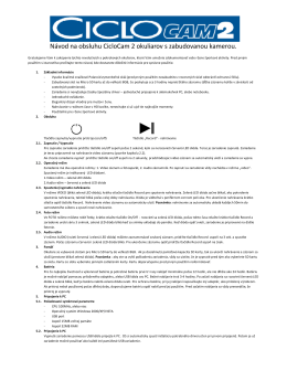 Návod na obsluhu CicloCam 2 okuliarov s