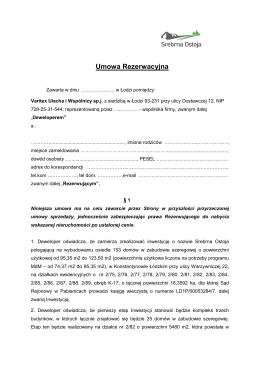 Umowa Rezerwacyjna 2.0