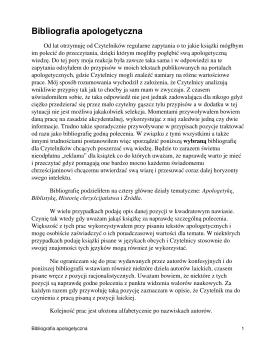 Bibliografia apologetyczna - Jan Lewandowski
