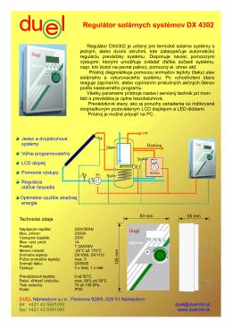 Regulátor solárnych systémov DX 4302