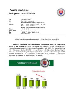 Vyhodnotenie dopravnej nehodovosti v Trnavskom kraji za