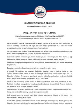 Program wyborczy z 2010 roku - Prezydent Miasta Gdańsk Paweł