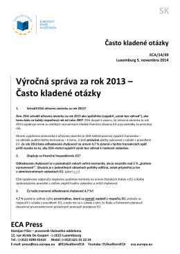 SK Výročná správa za rok 2013 – Často kladené otázky