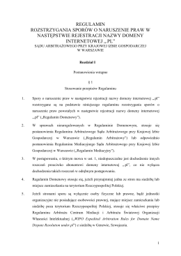 Regulamin Domenowy z dn. 01.01.2015r.