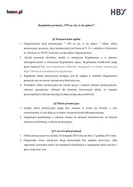 "Regulamin promocji ""VPS na rok, to się opłaca!"" §1"