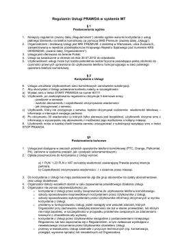 Regulamin Usługi PRAWDA w systemie MT