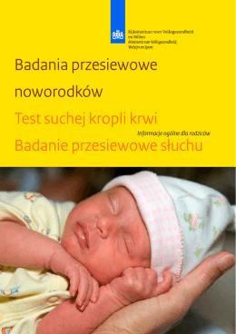Badania przesiewowe noworodków Test suchej kropli krwi