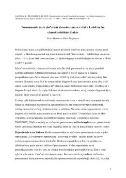 Gavora, P., Šrajerová, H. 2009. Porozumenie textu zisťované cloze
