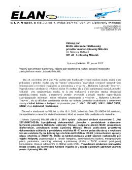 List primátorovi mesta Liptovský Mikuláš, 27.1.2012