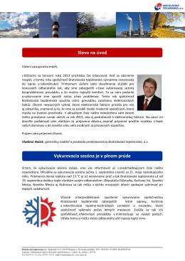 Newsletter č. 6/2013 - Bratislavská teplárenská, as