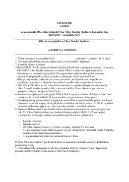 Uznesenie č. 2/2013 - Obec Banský Studenec