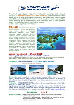 Letíme v termíne 15. - 27. apríl 2014