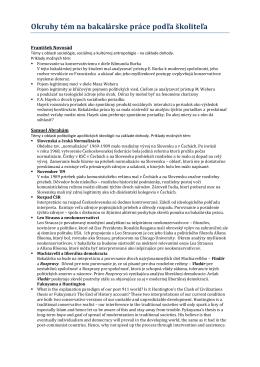 Okruhy tém na bakalárske práce podľa školiteľa