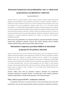 Informačné kompetencie detí predškolského veku vo