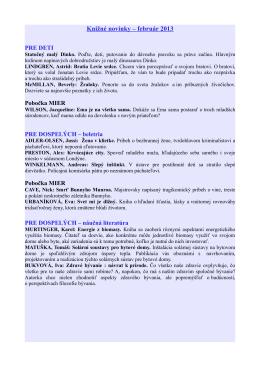 Knižné novinky – február 2013