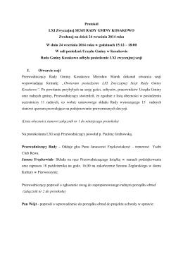LXI protokół z dnia 24 września 2014 roku