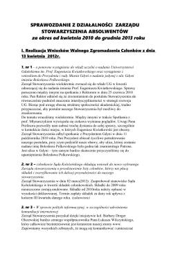 Sprawozdanie Zarządu na Walne Zgromadzenie Członków