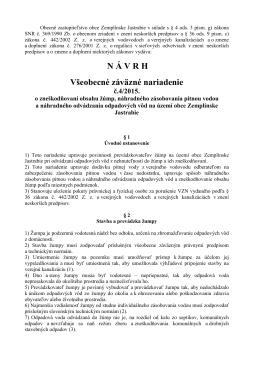 Návrh VZN o zneškodňovaní obsahu žúmp a náhradnom