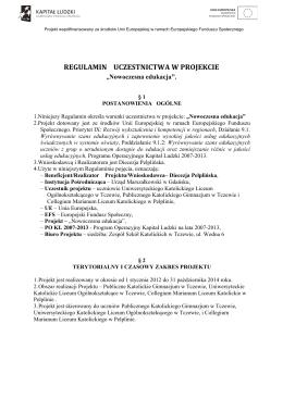 REGULAMIN UCZESTNICTWA W PROJEKCIE N.E.