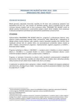program pre mládež 2014-2020