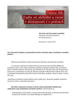 Vec: Otvorený list týkajúci sa poslaneckých
