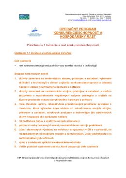 operačný program konkurencieschopnosť a hospodársky rast