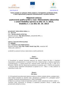Nájomná zmluva pre projekt Posilnenie osamostatňovania sa v
