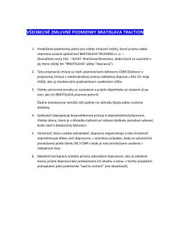 všeobecné zmluvné podmienky bratislava traction