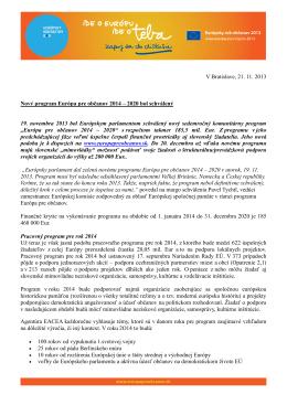 Nový program Európa pre občanov 2014