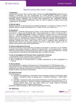 Regulamin promocji - Open Finance | Falubaz