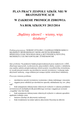 Plan pracy w zakresie promocji zdrowia na rok szkolny 2013/2014