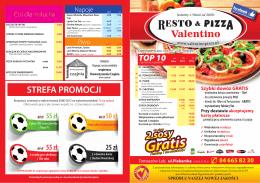 Ulotka menu - Resto & Pizza Valentino