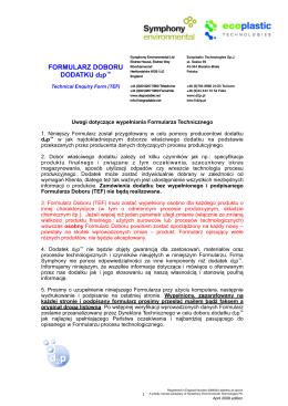 TEF formularz techniczny d2p