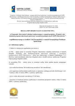 Regulamin uczestnictwa w projekcie 2013 r.