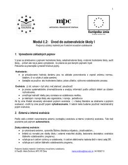 Modul č.2: Úvod do autoevalvácie školy I