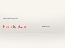 Kryptografické hash funkcie