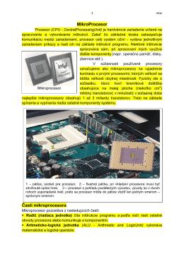 MikroProcesor Časti mikroprocesora
