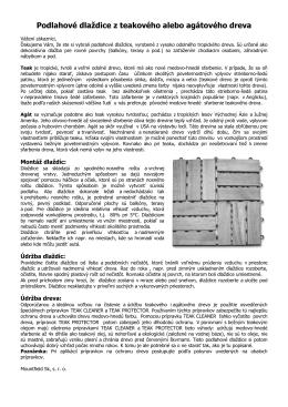 Podlahov kazety z teakovho alebo agtovho dreva