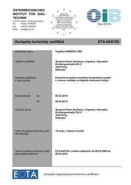 Európsky technický certifikát ETA