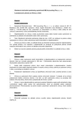 Všeobecné obchodné podmienky MB Accounting