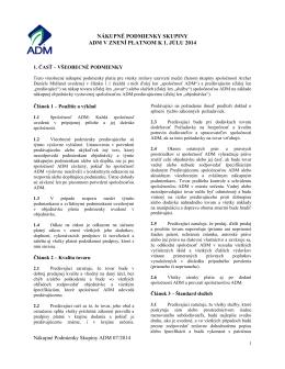 nákupné podmienky skupiny adm v znení platnom k 1. júlu 2014