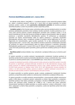 1 Povinná identifikácia platieb od 1. marca 2012