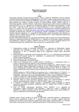 """Štatút televíznej súťaže """"CENA JE SPRÁVNA"""" Strana 1 z 8"""
