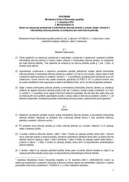 1 OPATRENIE Ministerstva financií Slovenskej republiky z 3
